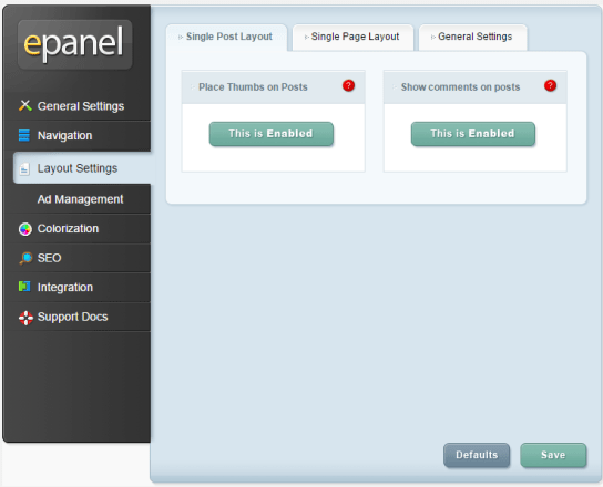 DailyJournal - ePanel - Layout settings